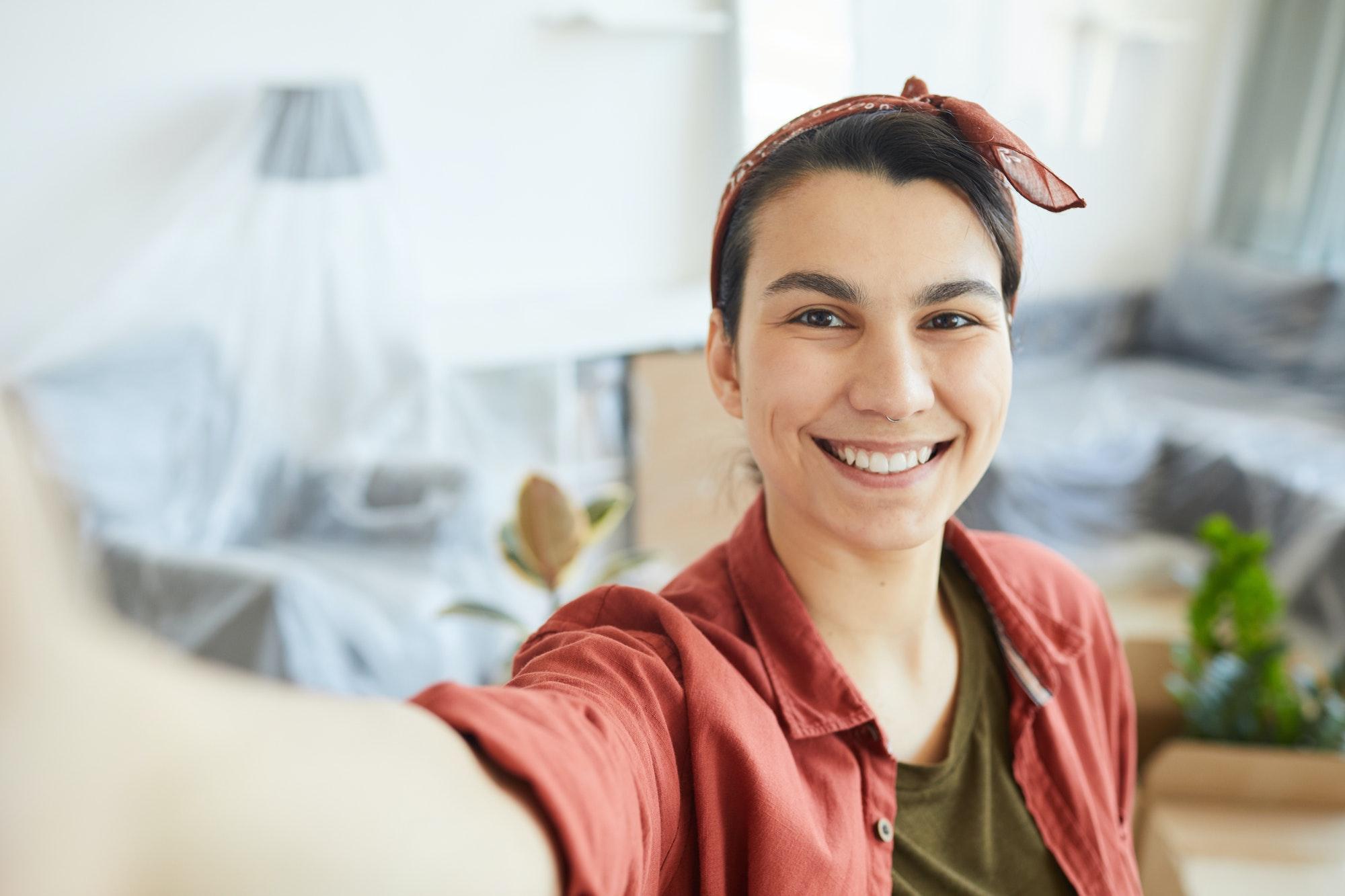 Selfie portrait of woman